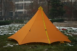 Nylon Coating Australia - 860G Camping Tent Ultralight 3-4 Person Outdoor 20D Nylon Both Sides Silicon Coating Rodless Pyramid Large Tent Camping 3 Season
