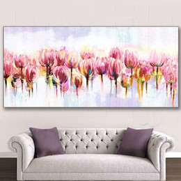 $enCountryForm.capitalKeyWord NZ - Hand Painted Flowers Oil Painting on Canvas Handmade Floral Paintings Large Pink Tulip Flower Pictures Home Wall Art