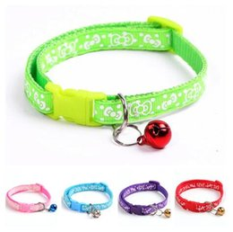 small dog collar charms NZ - Small dog cat Nylon Dog Puppy Cat Collar Breakaway Adjustable Cats Collars with charm Bell and Printed bow width 1.0cm