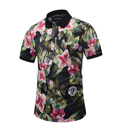 bamboo polo UK - 2018 POLO Shirt Flower Print Polo Homme Slim Fit Short-sleeve Camisa Polo