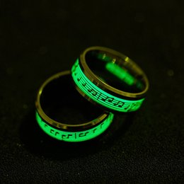 Lit Band NZ - Fashion Hot Ring Fluorescent Piano staff Light Finger Rings Band Glow In The Dark Gold Silver Pattern Jewelry Drop Shipping
