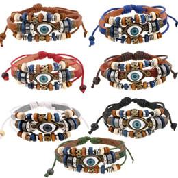 $enCountryForm.capitalKeyWord NZ - 2018 hot sales 7 Style Vintage Evil Eye Bracelet Multi Layer Genuine Cowhide Leather Charm Bracelet Cuff Wristband Bead Turkish Braclet