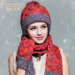 8a58d942 Charles Perra Women Winter Hats Scarves Gloves Three-Piece Sets Thicken  Velvet Liner Casual Elegant Lady Knitted Hat 8906