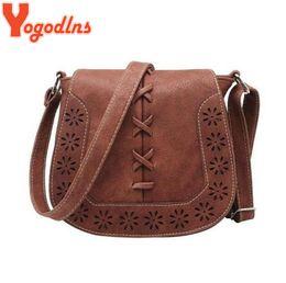 Black Leather Bags Women S Handbags Canada - Yogodlns High Quality Women 's Handbag Spanish Brand 2017 hollow out Crossbody Bags Women Leather Handbags Shoulder Small bag