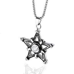 Men Hip Hop Jewelry Pentagram Pendant Necklace Stainless Steel Chain  Rhinestone Design Punk Fashion Men Necklace For Men Gifts b1c309eacb1e