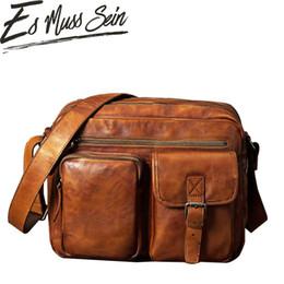 "Antique Zippers Australia - EsMussSein Genuine Leather Antique Retro Business Vintage Briefcase 15.6"" Laptop Case Portfolio Bag Shoulder Big Messenger Bag"