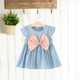 $enCountryForm.capitalKeyWord NZ - Fashion Baby Girls Dress Clothes Jean Denim Bow Vintage Sleeveless Designer Tutu Spring Summer Kid Infant Clothing Dresses FZ017