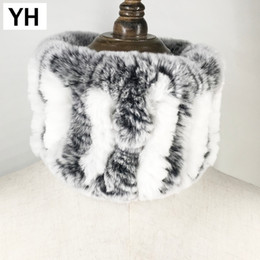 $enCountryForm.capitalKeyWord NZ - 2018 Winter Women Handmade Stretch 100% Real Rex Fur Scarf Knit Genuine Rex Rabbit Fur Headbands Girls Natural Fur Ring Scarves S18101904