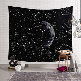 stars mural Australia - space constellation tapestry moon star hanging wall art black tenture mural decoration polyester carpet show piece