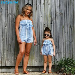 $enCountryForm.capitalKeyWord NZ - Mother Women And Daughter Girl Matching Clothes Striped Overalls Dress One-pieces Jumpsuits For Mommy And Me Family Outfits