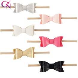 $enCountryForm.capitalKeyWord NZ - Little Bow Leather Jojo Bows Hairbands Cute Solid Color 5.5Inch Party Hair Accessories Cheer Bows 6 Styles