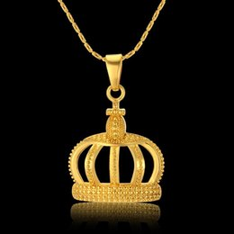$enCountryForm.capitalKeyWord Australia - Fashion Gold Color Crown Pendants Hip Hop Jewelry With Chain Necklace Women Party Gifts