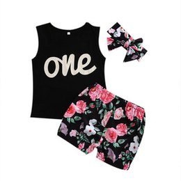 $enCountryForm.capitalKeyWord UK - 2018 Baby Girls Summer Clothes Sets Letter one Printing Tops T-Shirt +Floral Shorts Headband 3PCS Princess Girl Outfits