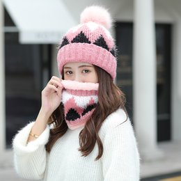 knitted fox scarf NZ - Winter Thickening Warm Hat Scarf Sets For Women Imitation Fox Fur PomPom Patchwork Knit Beanies Caps Classic Female Ring Scarves