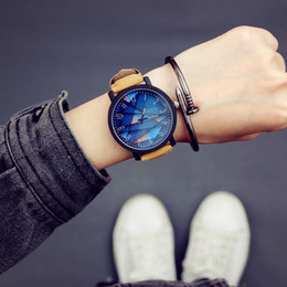 Korean Big Glasses NZ - Fashion trend retro wooden star watch male Korean student creative personality casual big watch