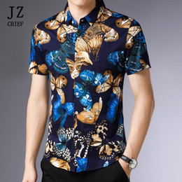 Mens Plus Size Silk Shirts Canada - wholesale Vintage 100% Silk Cotton Shirt Butterfly Print Mens Shirts Short Sleeve Summer Casual Plus Size Comfortable Shirt Blue