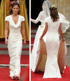 Wholesale uk chocolates online – design Vintage Affordable Pippa Middleton Bridesmaid Dress Cheap Simple Designer White Wedding Dresses A Line Draped Neck Bridal Gowns UK