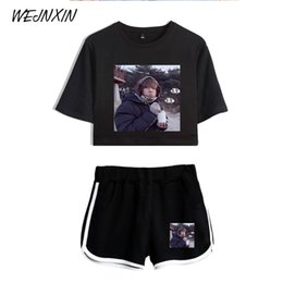 Chinese  WEJNXIN Summer Kpop BTS Bangtan Boys Sexy Two Piece Set Women BTS V Same Crop Tops + Shorts Pants Tracksuit Women Conjunto manufacturers