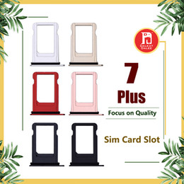 sim card slot holder iphone UK - For Apple iPhone 7 Plus Nano Sim Card Tray Holder Slot Replacement Jet Black Rose Gold Silver Black Gold Color Adapter Socket Accessories