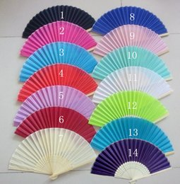 $enCountryForm.capitalKeyWord NZ - High quality DIY Folding Silk Fans Hollowed-out Bamboo Ribs Gift wedding decoration party decoration 18 Colors 100pcs