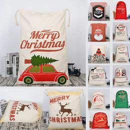 $enCountryForm.capitalKeyWord Australia - Christmas Large Canvas Gift Bag Monogrammable Storage Bags Santa Reindeers Drawstring Candy Bag Christmas Supplies HH7-1291
