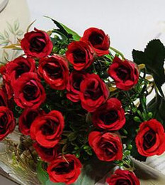 Small red roSeS online shopping - Artificial Heads Small Roses Flower Decorative Silk Flowers Artificial Flowers For Wedding Home Party Decoration