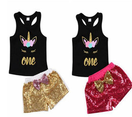 Discount shirts for girl kids - Toddler Kids baby Girl Unicorn Clothes set Cartoon Vest T shirt sequins bow Shorts Outfits birthday costume for girls