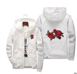 Slim White Sports Jacket Canada - Rose Embroidery Jackets Mens Spring Autumn Windbreaker Jacket Thin Women Floral Slim Fit Sports Coats