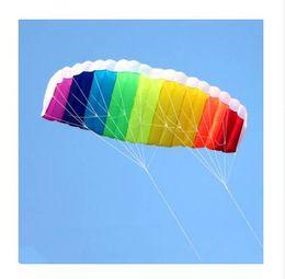 1e59c707107 free shipping dual line 1.5m Parafoil kites flying rainbow Sports Beach  stunt kite with handle ripstop nylon outdoor kitesurf NEW