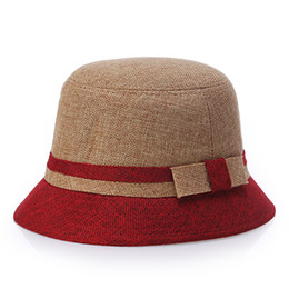 Fallen Hats Australia - 2018 new fashion woman spring summer fall Flat casual bowknot Floral color Patchwork small edge Linen hat beach tourism sun protection