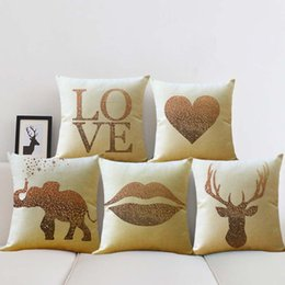 Knitted car pattern online shopping - Simple Throw Pillow Case Elephant Love Elk Lips Pattern Protector Bed Sofa Car Waist Cushion Cover Gift Home Decor ym bb