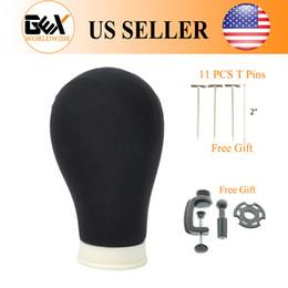 "$enCountryForm.capitalKeyWord Canada - GEX 21"" 22"" 23"" 24"" 25"" Poly Canvas Block Head Hair Extension Weft Wig Display Style Styling Mannequin Manikin Head Dryer Black"