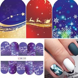 Christmas Bell Stickers Australia - ticker snowflakes 48pcs lot Christmas Style Nail Stickers Snowflake Santa  Bell Deer Nail Art Water Transfer Decals Full Wraps DIY SABN20...