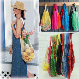Discount mesh storage bag camping 12Colors Fashion Shopping Mesh Bag Convenient Reusable Fruit String Grocery Shopper Cotton Tote Vegetables Storage Outdo