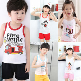 baby boys tees Australia - Summer Fashion Children T Shirts for Boys Girls T-shirt Kids Cartoon Cotton Sleeveless Tops Baby Tees Designer Kids Clothes