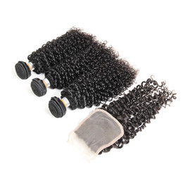 Buy Wholesale Brazilian Human Hair UK - Doheroine Hair Brazilian 100% Human Hair Kinky Curly Weave With Lace Closure 3bundles Extensions Free Shipping Can Buy 3 Or 4 Bundles