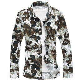 men flower clothes 2019 - Nice New Spring Autumn Men Long Sleeve Shirt High Quality Fashion Casual Flower Floral Shirts Plus Size Clothing M-4XL 7