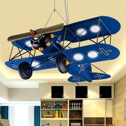 $enCountryForm.capitalKeyWord NZ - Children 's Iron Airplane Room LED Pendant Lights Bedroom Creative Personality Cartoon pendant light Retro Hanging Lamps