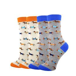 Fun Knee Socks Canada - Brand Funny Cute Unisex Dachshund Cotton Socks Women Men Fun Husky Bulldogs Puppy Dog Animal Cartoon Long Sock Couple Lovers