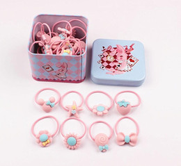 $enCountryForm.capitalKeyWord Australia - Lovely Fashion Headband Flower Bow Cartoon Children Pink Hair Accessories Elastic Bands Baby Girl Gift Hairband with Tin Box