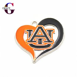 tiger sports Canada - 12pcs lot NCAA Heart Auburn Tigers Team Sport Hanging Dangle Floating Charms For Women Bracelet Necklace Pendant DIY Jewelry