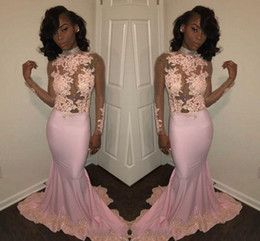 $enCountryForm.capitalKeyWord Canada - African Pink Mermaid Prom Dresses High Neck Sheer Long Sleeves Beads Appliqued Lace Evening Dresses Black Girl Prom Gowns HY198