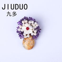 $enCountryForm.capitalKeyWord UK - JIUDUO Natural Pearl Glass Crystal Brestpin Fashion Flower Brooches Waterdrop Pearl Hand Knitting Ladies Brooches