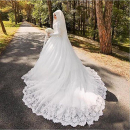 $enCountryForm.capitalKeyWord NZ - 2019 Muslim Wedding Dresses Arabic Luxury Long Sleeves Applique Lace Wedding Gowns with Hijab Long Train Robe De Mariage
