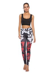 Discount dark grey yoga pants - Oyoo Rose Color High Waist Yoga Pants Women's Fitness Sport Leggings Stripe Printing Elastic Gym Workout Tights