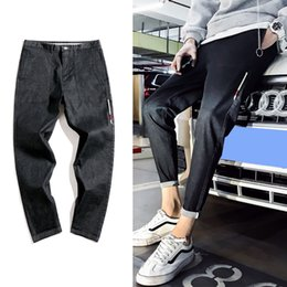 74cc6717d40f6 2018 Spring New Pattern Men s Fashion Casual Bound Feet Solid Color Jeans  Pants Tide Loose Ankle-length Trousers Male 28-36 discount new pattern jeans  pant