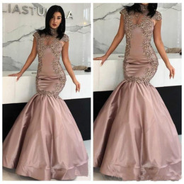 trendy dresses pleats 2021 - Trendy Mermaid Evening Dresses Lace Fitted High Neck Arabic Dubai Vestidos De Festa Party Dress Prom Formal Pageant Celebrity Gowns