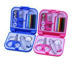 Threaded Needle Kit NZ - Blue & Pink Mini Portable Travel Sewing Kit Thread Needles Plastic Case Scissors Tape Pins Thread Threader Set Sewing Tools Set