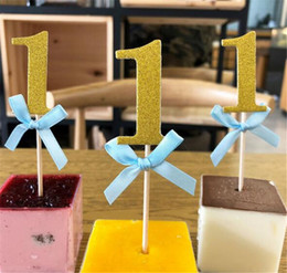 Glitter papers online shopping - New Festive First Birthday st Year Cupcake Toppers with Glitter Paper Boy Girl DIY Birthday Party Cake Decoration Supply