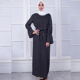 94cfe121f25 2018 New Middle Eastern Muslim Dress Striped Black White Trumpet Sleeve  Long Dress with Bandages Fashion Hijab Abaya Slimming Clothing